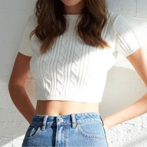 HOT Lottie Moss Short Sleeve Cable Stitch Sweater